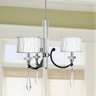 Cutlass Collection 3-light Arm Chrome Finish and Clear Crystal Chandelier with White Fabric Shade