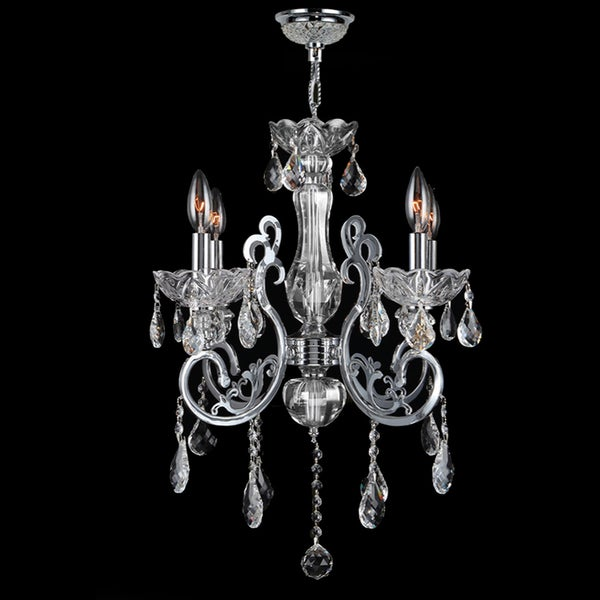 Kronos Collection 4-light Chrome Finish and Clear Crystal Chandelier