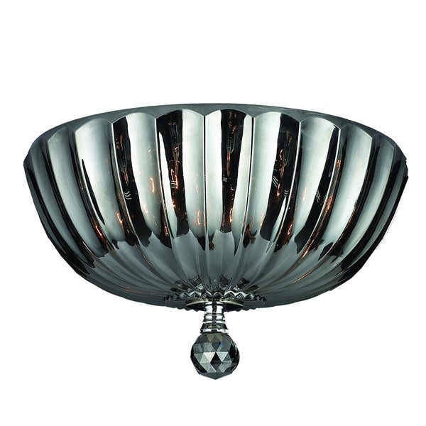 Contemporary 4-light Chrome Finish and Smoke Crystal 14-inch Bowl Flush Mount Ceiling Light