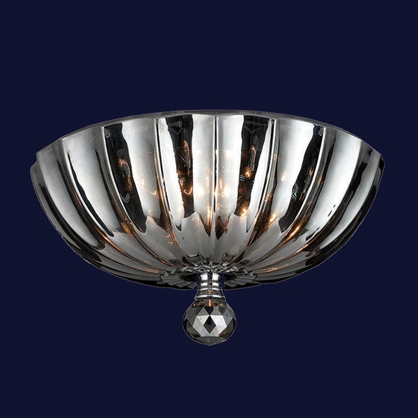 Mansfield collection 3 light chrome finish and smoke crystal flush mount ceiling light Home decorators collection 4 light chrome flush mount