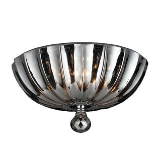 Contemporary 3-light Chrome Finish and Smoke Crystal 12-inch Bowl Flush Mount Ceiling Light