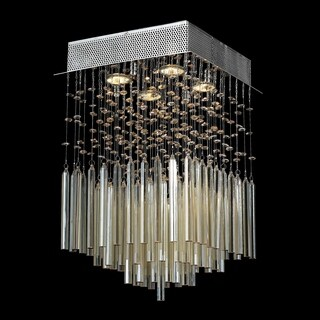 Modern 4-light Halogen Chrome Finish and Golden Teak Crystal Raindrop Square Flush Mount Ceiling Light