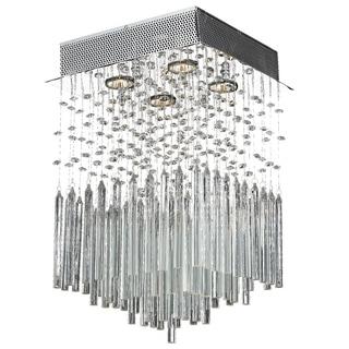 Modern 4-light Halogen Chrome Finish Raindrop Crystal Square Flush Mount Ceiling Light