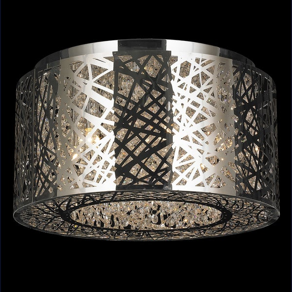 Aramis Collection 6-light LED Chrome Finish and Clear Crystal Flush Mount Ceiling Light