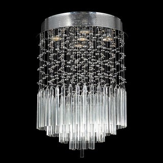 Modern 5-light Halogen Crystal Raindrop Flush Mount Ceiling Light