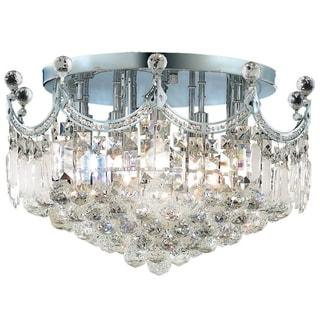 French Empire 9-light Chrome Finish Crystal 20-inch Round Flush Mount Ceiling Light