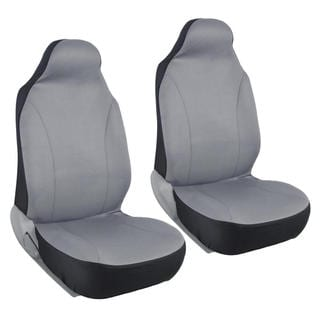 BDK Rome Flat Cloth Solid Grey Front Pair of Bucket Seat Covers