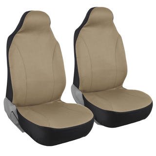 BDK Rome Flat Cloth Solid Beige Front Pair of Bucket Seat Covers