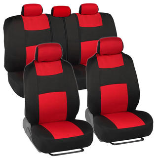 BDK Black/ Red Mesh Cloth Split Bench Car Seat Covers Full Set