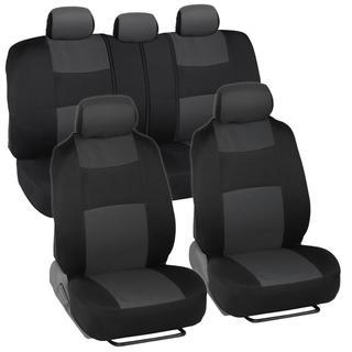 BDK Black/ Charcoal Mesh Cloth Split Bench Car Seat Covers Full Set