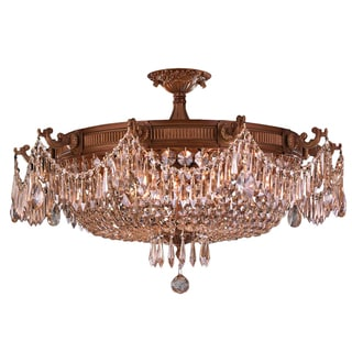 Traditional 10-light French Gold and Golden Teak Crystal Semi Flush Mount Ceiling Light