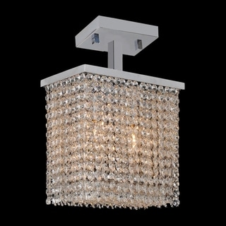 Modern Crystal Rainfall 2-light Rectangle Semi Flush Mount Ceiling Light