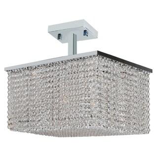 Modern Crystal Rainfall 8-light Semi Flush Mount Ceiling Light