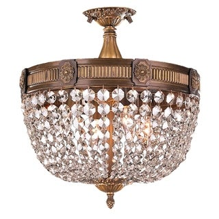 Traditional Ornate 4-light Antique Bronze Finish Crystal 16-inch Semi-flush Mount Ceiling Light
