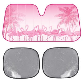 BDK Pink Flamingo SunShade Springtime Fuschsia Folding Accordion with Static Cling Sun Shade