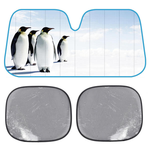 BDK Penguins SunShade Look Into The Distance Folding Accordion with Static Cling Sun Shade