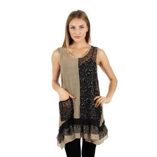 Women's Sleeveless Black/ Beige Lace Ruffle Top