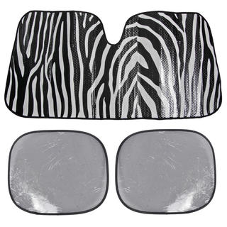 BDK Zebra White Print Sunshade Folding Accordion with Static Cling Sun Shade