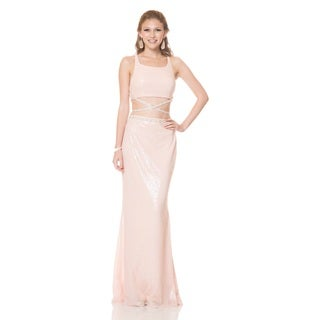 Bari Jay Juniors' Sequin Crop Top Evening Gown
