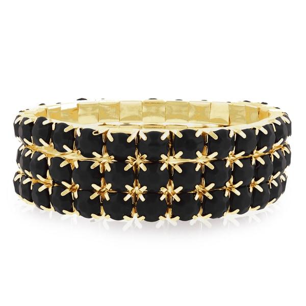 Gold Over Brass Black Crystal Bracelets (Set of 3) 15503843
