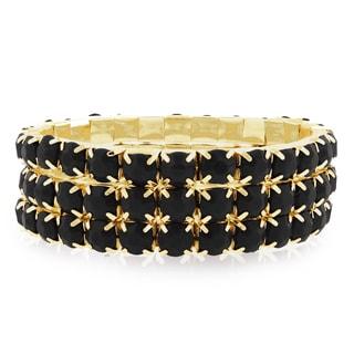 18k Gold Overlay 60ct Black Onyx Crystal Bracelets (Set of 3)
