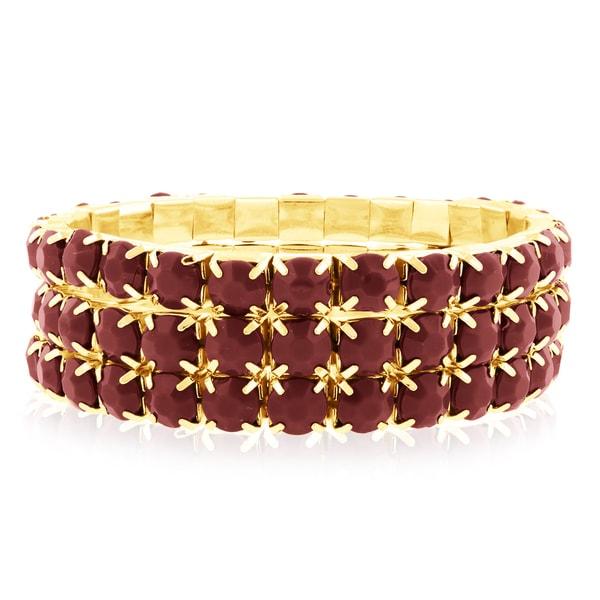 Gold Over Brass Red Crystal Bracelets (Set of 3) 15503844