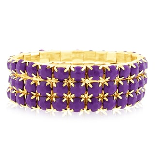 18k Gold Overlay 60ct Purple Amethyst Crystal Bracelets (Set of 3)