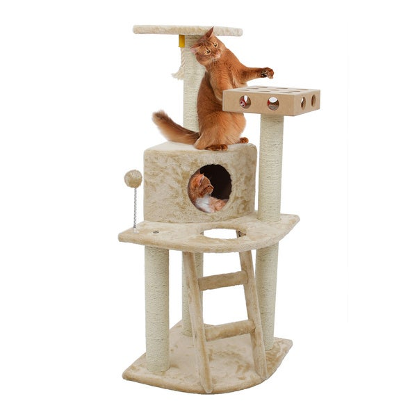 Tiger Tough Deluxe Cat Furniture Clubhouse Cat Tree with Cat-IQ Busy Box Deluxe Cat Furniture Clubhouse with Cat- IQ  Busy Box 15503910