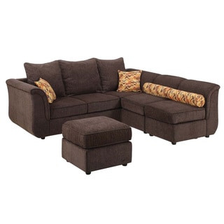 Kaman Sectional Sofa with Ottoman Upholstered in Chocolate