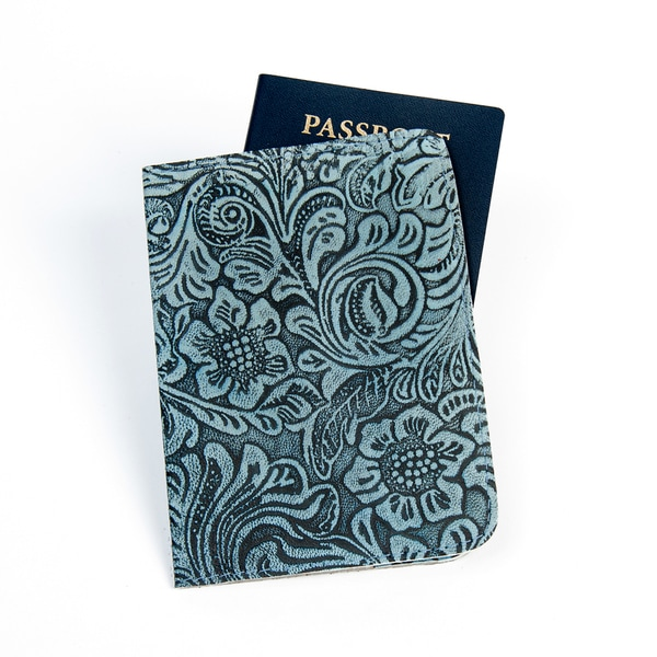Blue Floral Embossed Leather Passport Cover (India)