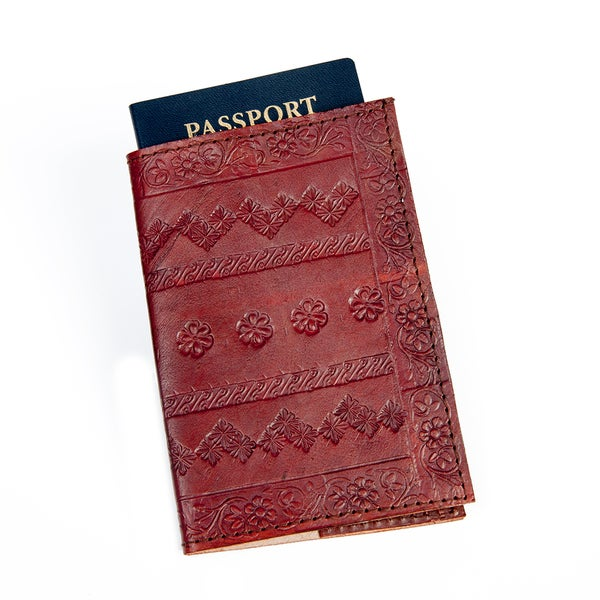 Embossed Brown/ Red Leather Passport Cover (India)