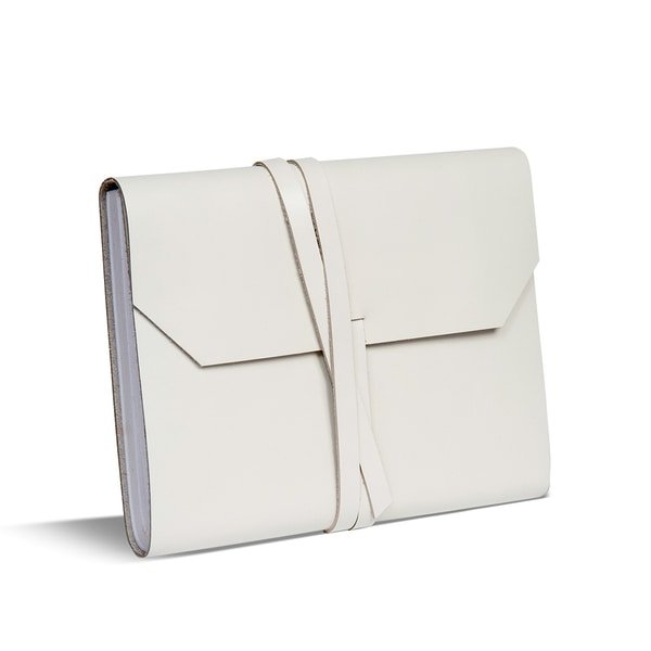 Snow White Leather Journal with Wrap Tie Closure (India)