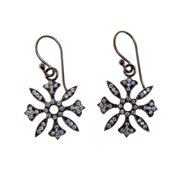 Rhodium-plated Sterling Silver Floral Earrings (India)