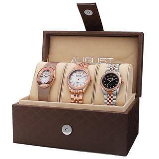 August Steiner Women's Quartz Diamond MOP Stainless Steel Bracelet Watch Set