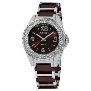August Steiner Women's Japanese Quartz Crystal Studded Bezel Ceramic Link Bracelet Watch