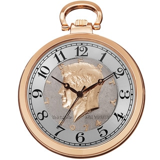 August Steiner Men's Japanese Quartz Kennedy Half Dollar Coin Chain Watch