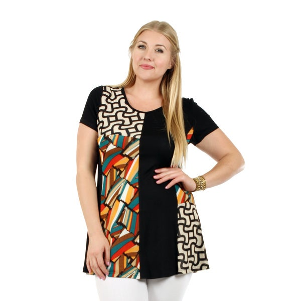 Firmiana Women's Plus Size Short Sleeve Black Multi Astract Pattern Tunic