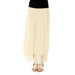 Firmiana Women's Long Beige Lace Skirt