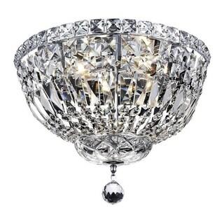 Elegant Lighting 4-light Chrome 14-inch Royal Cut Crystal Clear Flush Mount