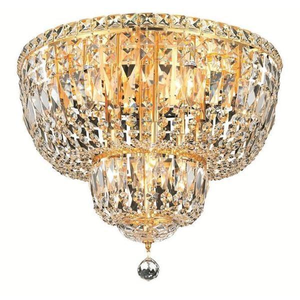 Elegant Lighting  Light Gold  Inch Royal Cut Crystal Clear Flush Mount Free Shipping Today