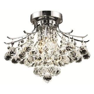 Elegant Lighting 3-light Chrome 16-inch Royal Cut Crystal Clear Flush Mount