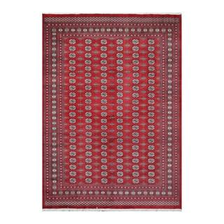 Herat Oriental Pakistani Hand-knotted Bokhara Red/ Ivory Wool Rug (9'5 x 13')