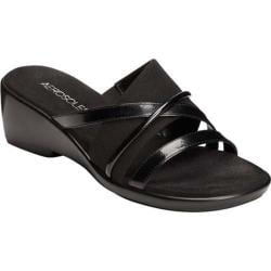 Women's Aerosoles Flagship Slide Sandal Black Fabric/Faux Patent Leather