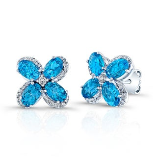 Estie G 14k White Gold Swiss Blue Topaz Diamond Flower Stud Earrings (H-I, VS1-VS2)