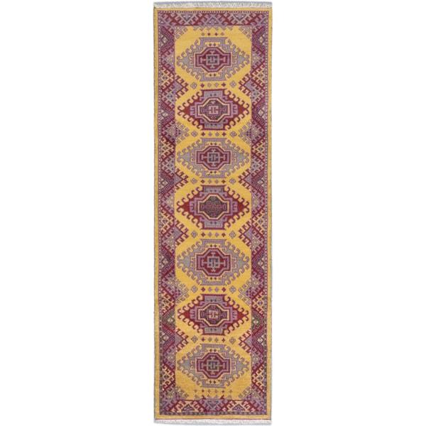 Ecarpetgallery Royal Kazak Dark Gold Violet-Violet-Magenta Wool Geometric Runner Rug (2'9 x 9'9)