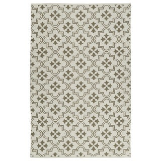 Indoor/Outdoor Laguna Ivory and Dark Taupe Tiles Flat-Weave Rug (9'0 x 12'0)