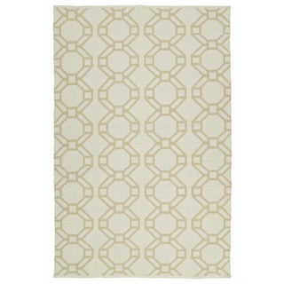 Indoor/Outdoor Laguna Ivory and Khaki Geo Flat-Weave Rug (9'0 x 12'0)
