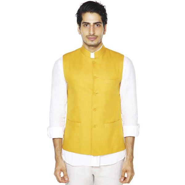 Men's A.N.D. by Anita Dongre Mandarin Collar Button Down Vest (India)