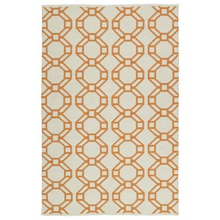 Indoor/Outdoor Laguna Ivory and Orange Geo Flat-Weave Rug (9'0 x 12'0)