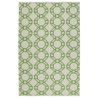 Indoor/Outdoor Laguna Ivory and Lime Geo Flat-Weave Rug (8'0 x 10'0)